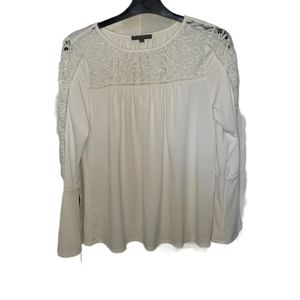Adrianna Papell Lace Panel Bell Sleeve Blouse Size Small